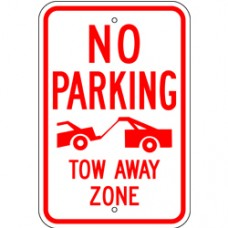 Traffic Control - Tow Away Zone .080 Reflective Aluminum
